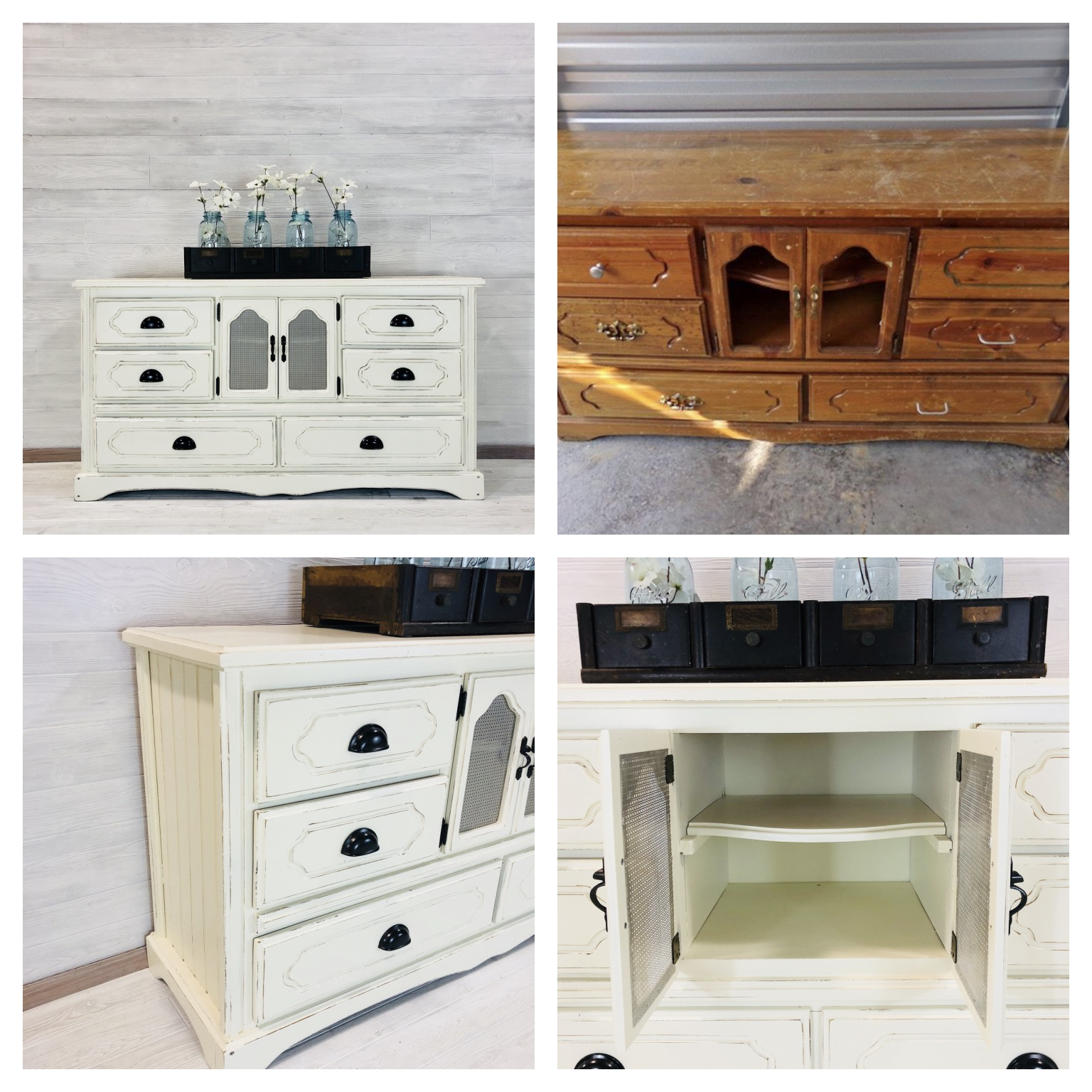 Antique White and Tin Dresser