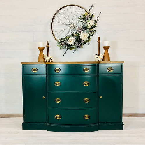 Peacock and Antique Walnut Buffet