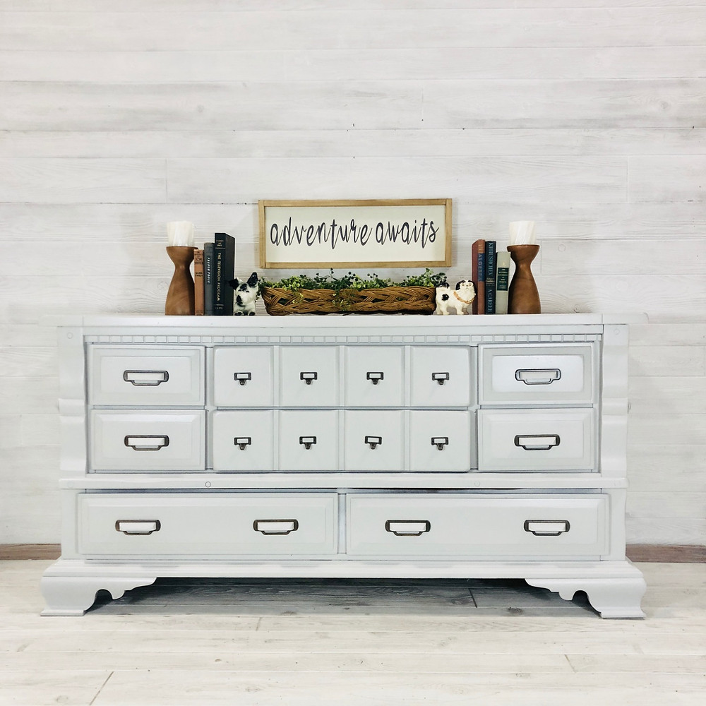 Light Gray Library Pull Dresser