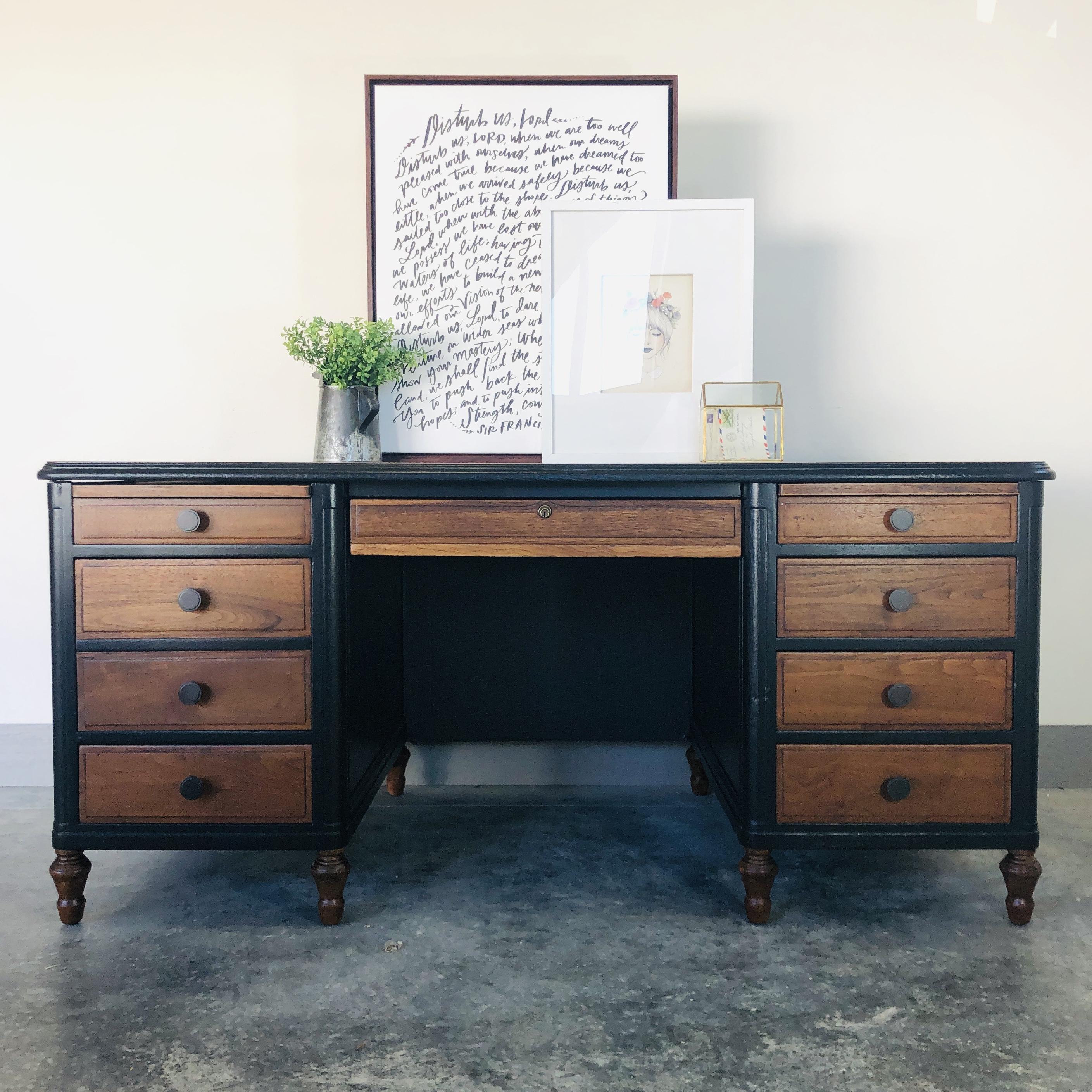 Lamp Black and Natural Wood Desk