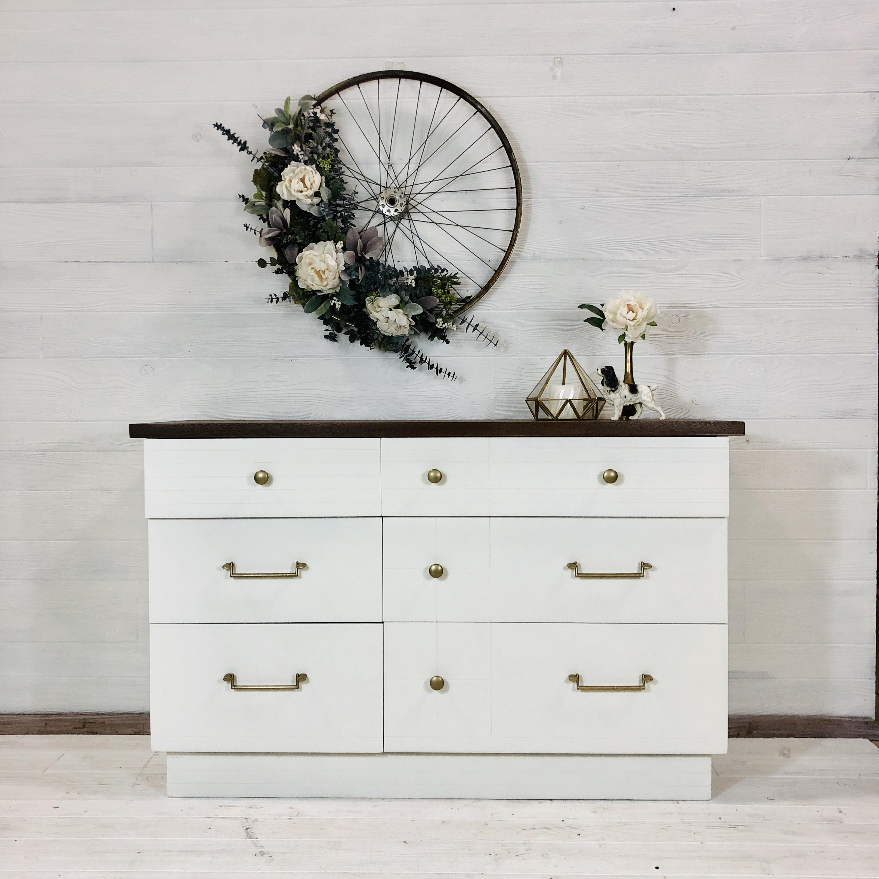 Alabaster and Wood Top Dresser