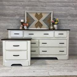 Antique White and Walnut Dresser