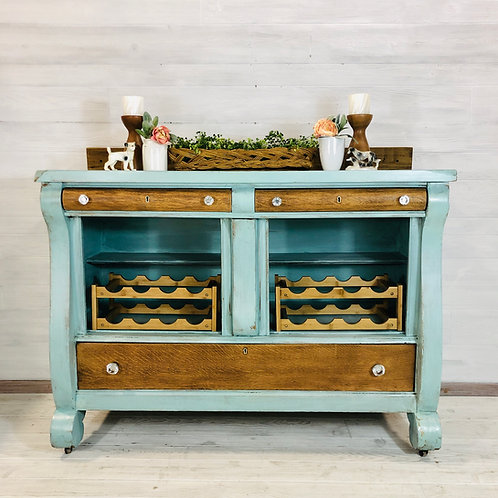 Beach Glass and Wood Buffet
