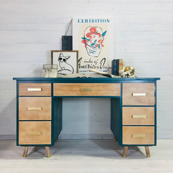 Teal and Wood Desk