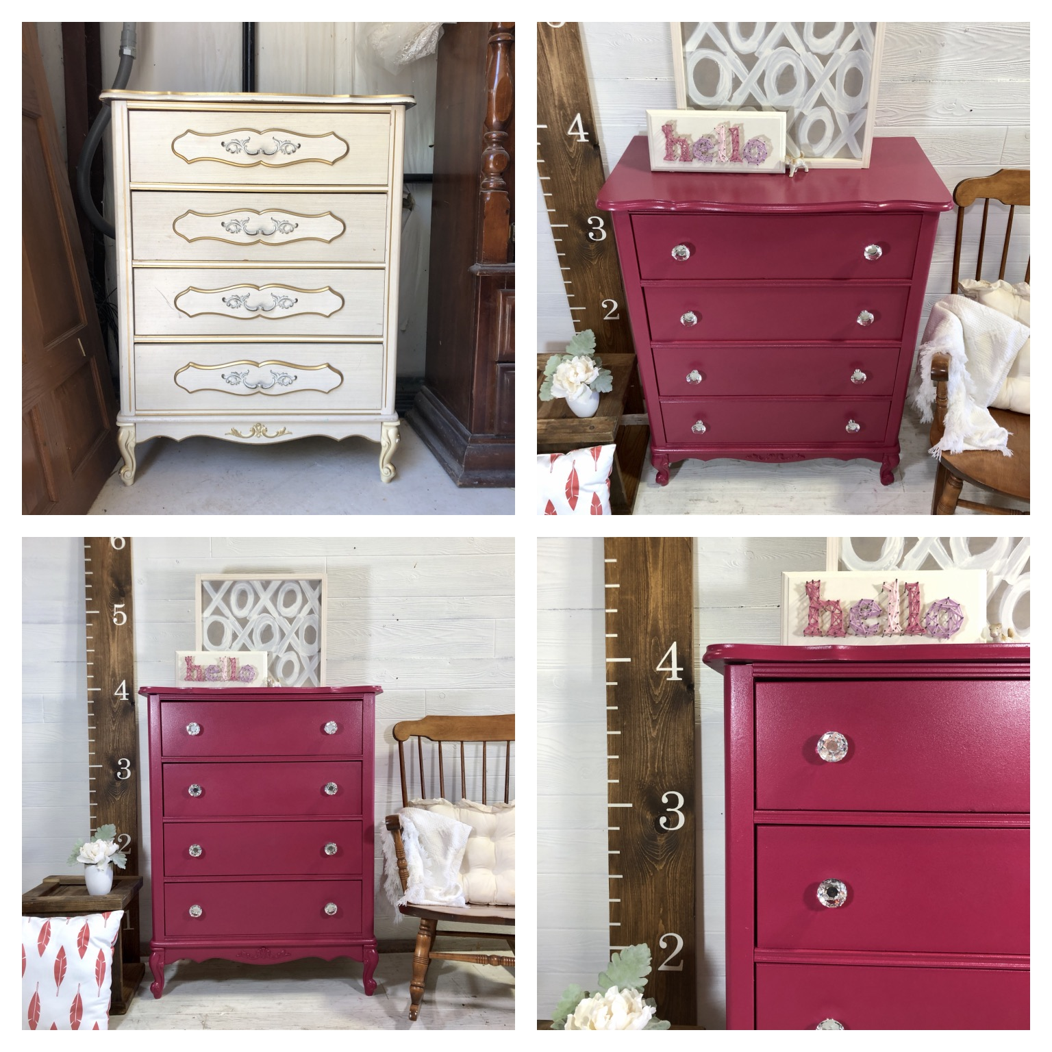Pink French Provincial Tallboy