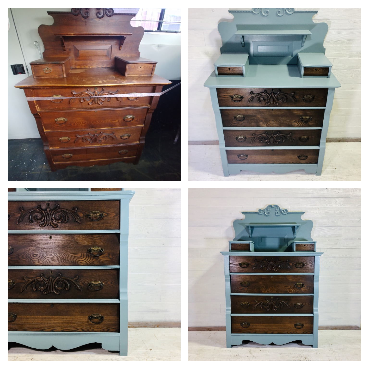Moddy Blue and Walnut Dresser
