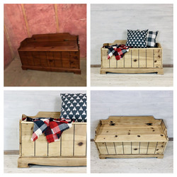 White Washed Pine Bench
