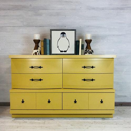 Mustard Yellow 6 Drawer MCM Dresser