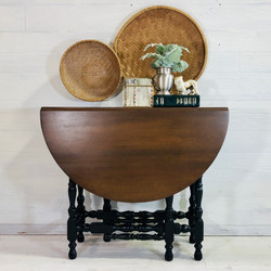 Lamp Black and Wood Table