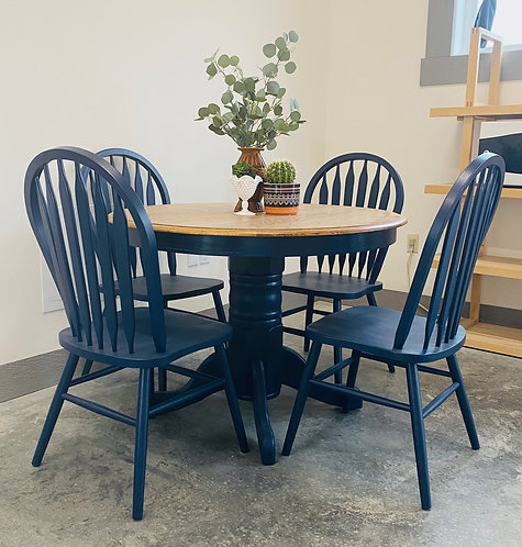 Everly - Navy & Wood Table Set