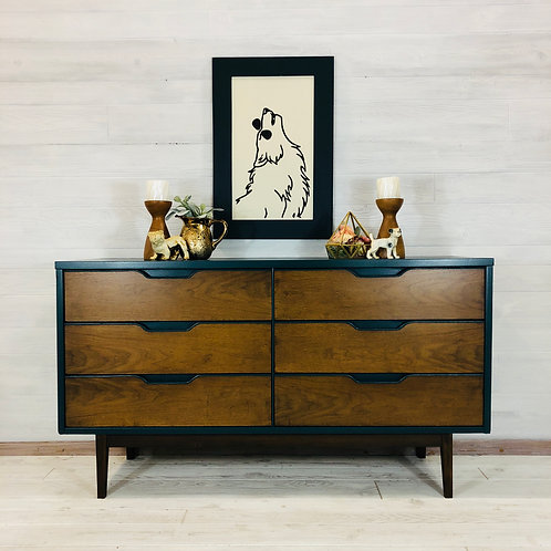 MCM Wood and Peacock Dresser