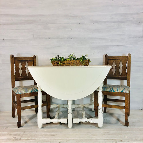 White Distressed Oval Table w/ 4 Wood Upholstered Chairs