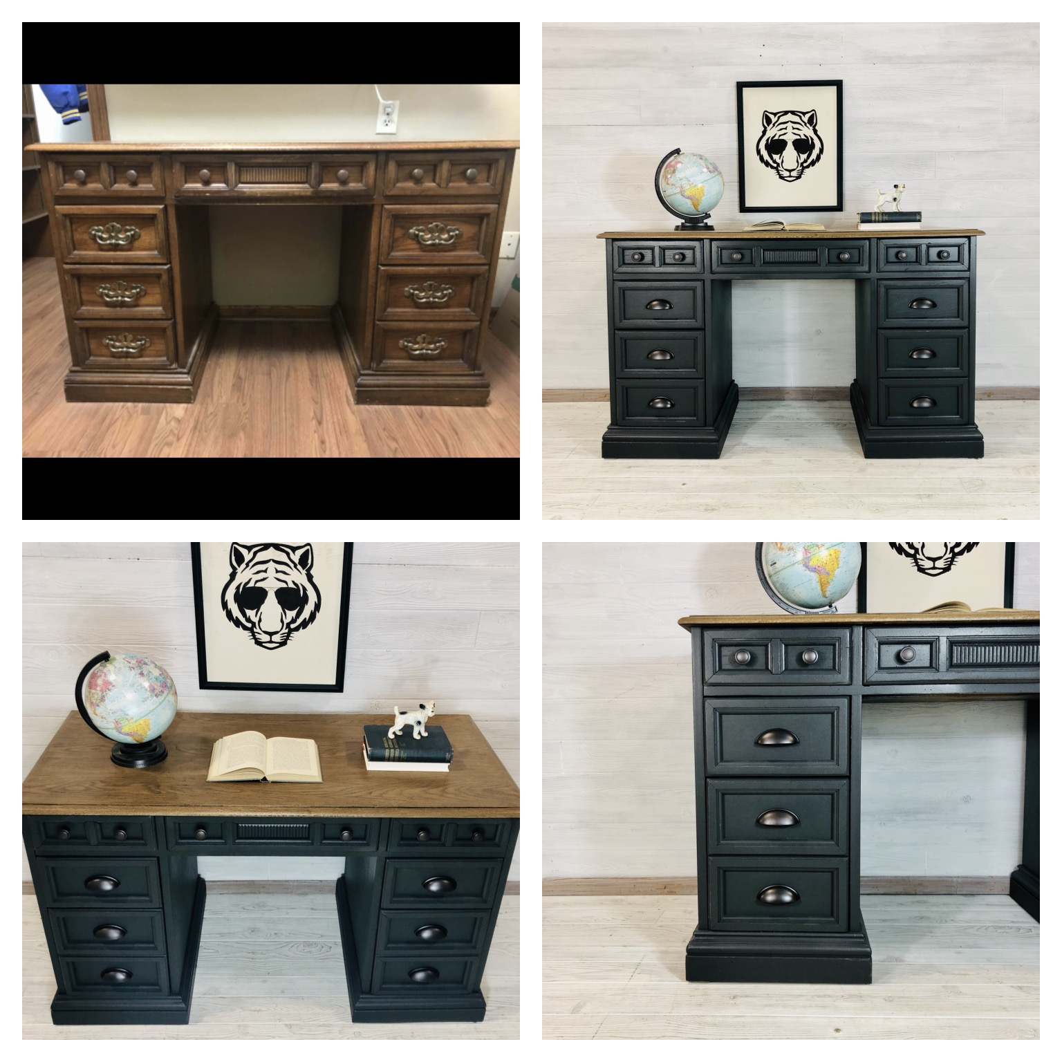 Iron Ore and Antique Oak Desk