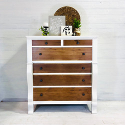 Alabaster White and Ant. Oak Drawers