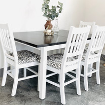 Pure White Table with Dark Stained Top