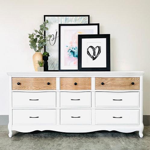 Bernadette - White and Wood 9 Drawer