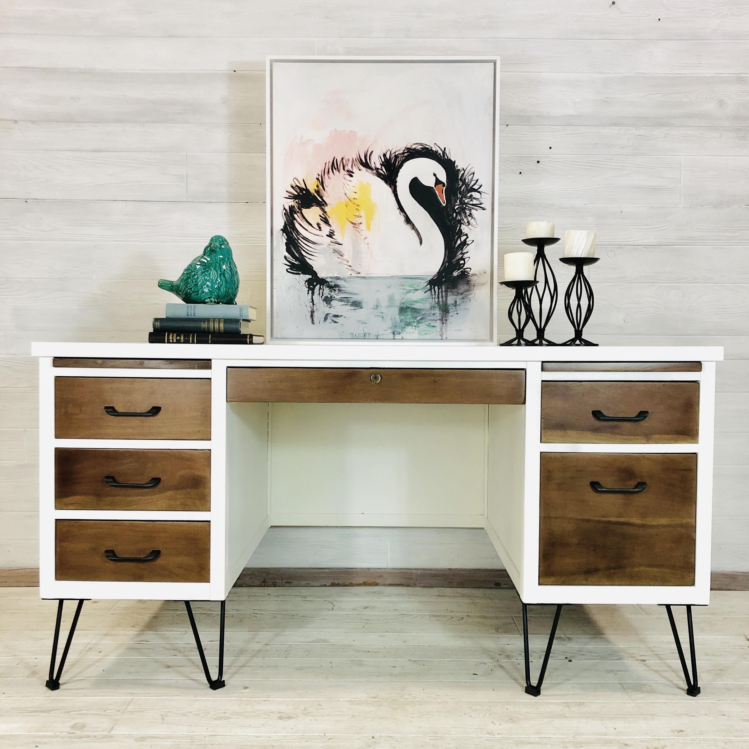 Alabaster and Wood Desk