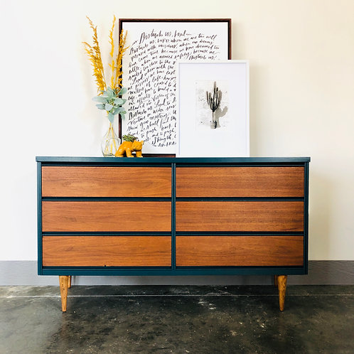 Houston - Wood and Peacock 9 Drawer MCM