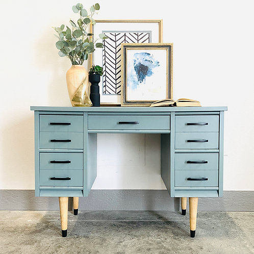 Penny  - Wood and Light Blue MCM Desk