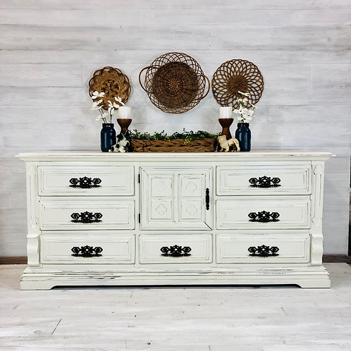 Antique White Long Low Dresser
