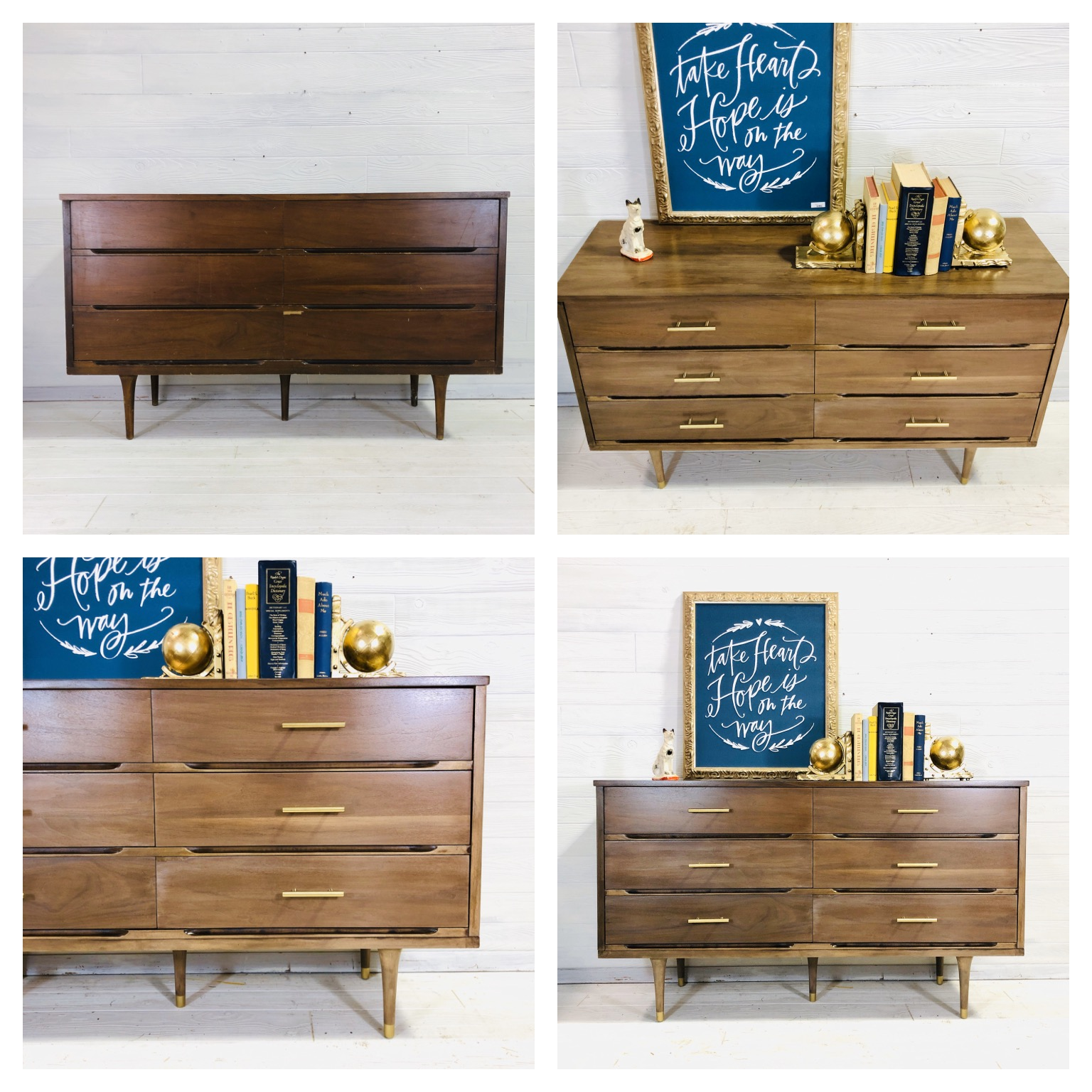 Raw Wood Wash MCM Dresser
