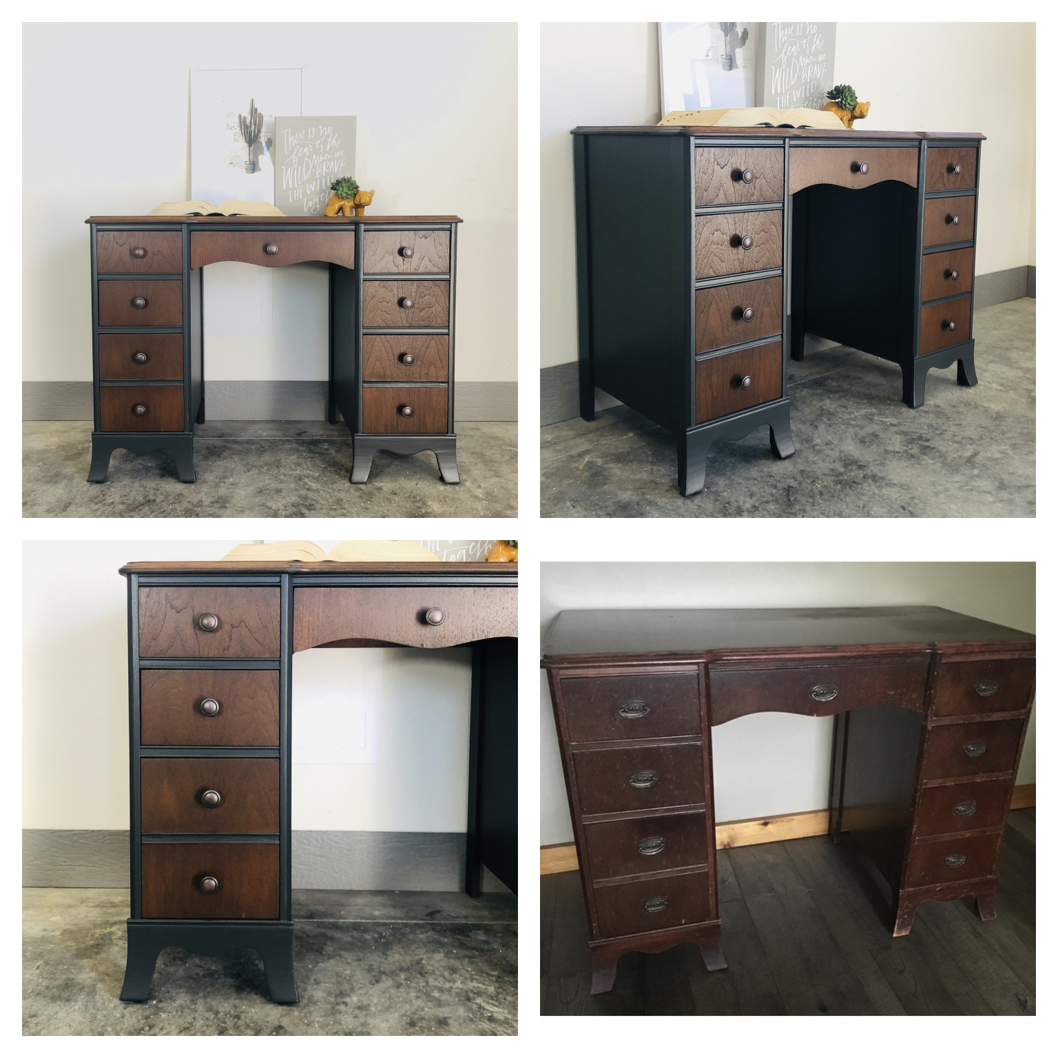 Iron Ore and Antique Walnut Desk