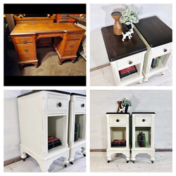 Antique White and Java Nightstands