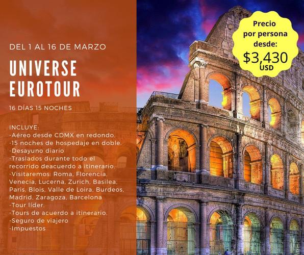 Eurotour Incluye Vuelo saliendo de Cd de México