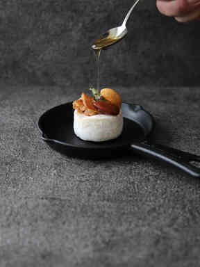 Camembert with nuts and maple syrup
