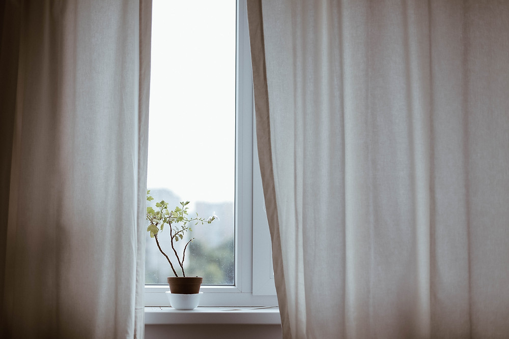 A photo of a window. The curtains, slightly ajar reveal an overcast day. There's a plant sitting on the windowsill.