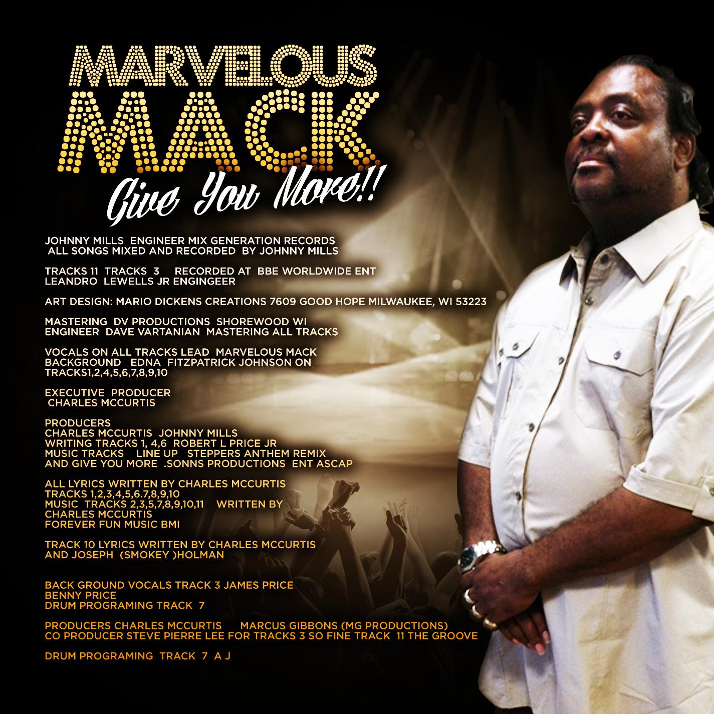 Marvelous Mack CD Cover Inside New Right