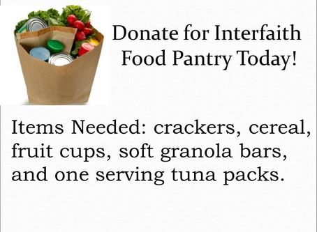 Food Items Needed at Interfaith!