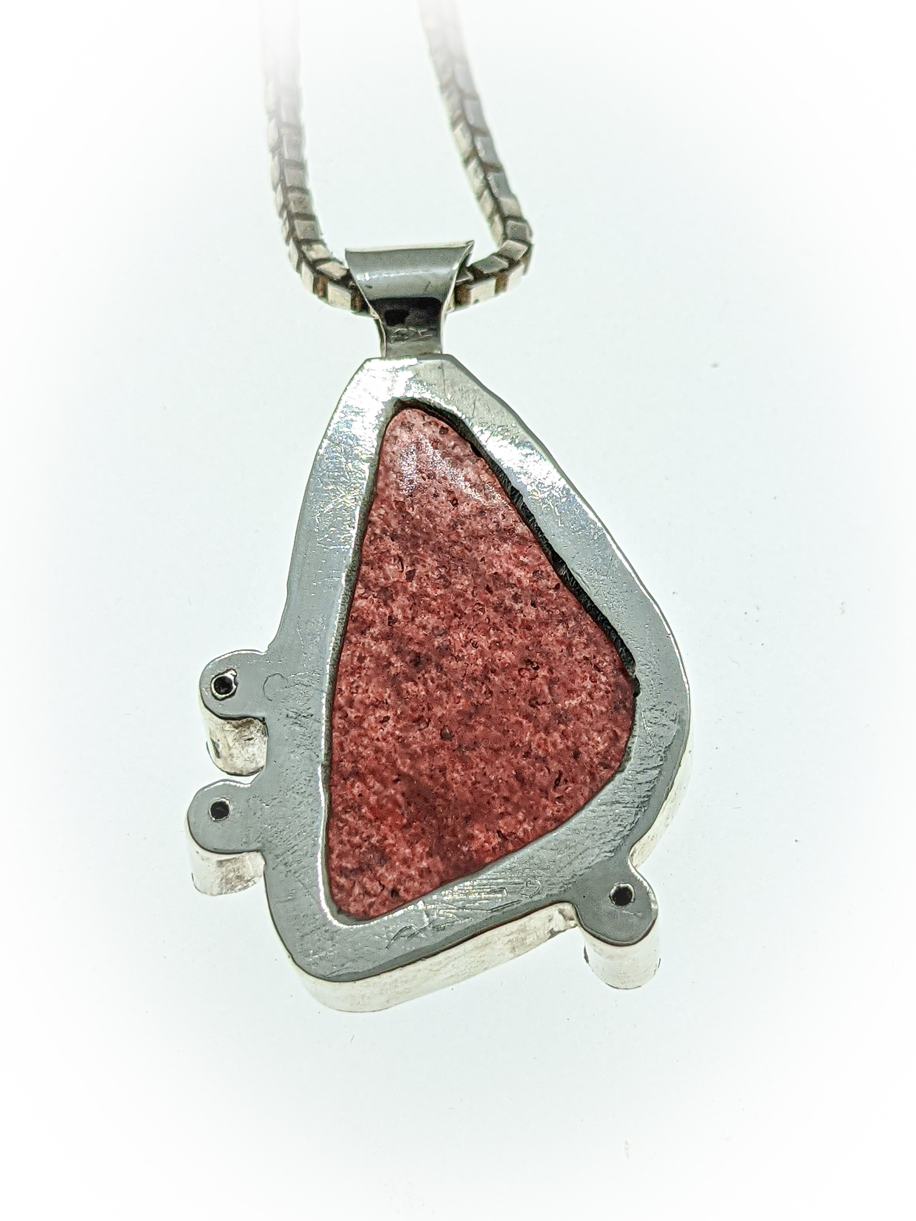 STRAWBERRY QUARTZ Handmade necklace  pendant in silver recycled sterling silver