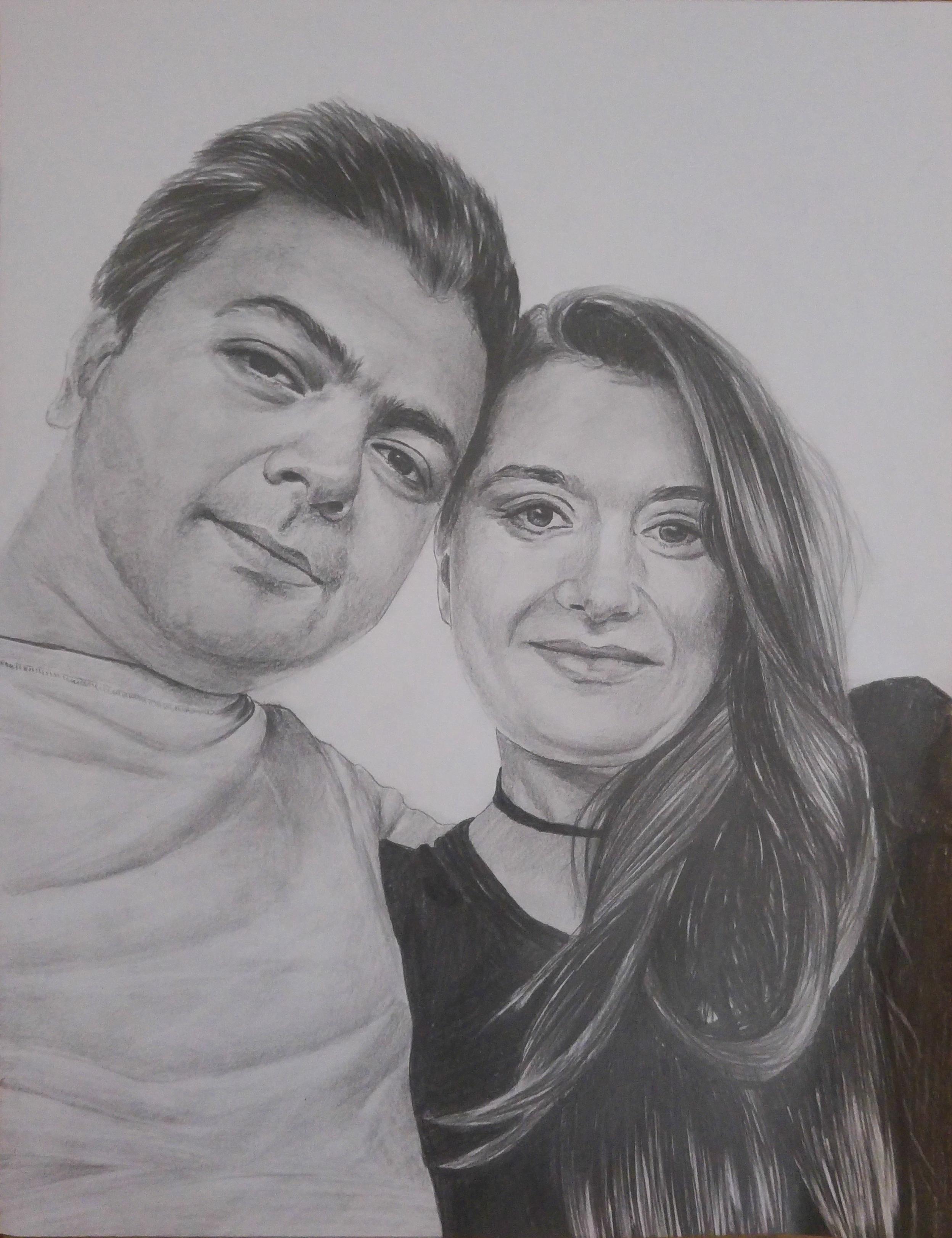 kurşun kalem iki kişilik portre