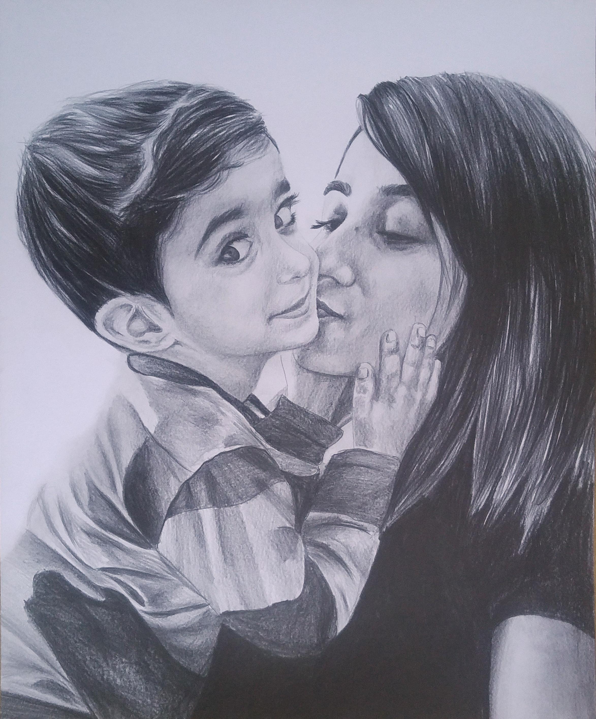 çocuklu karakalem portre