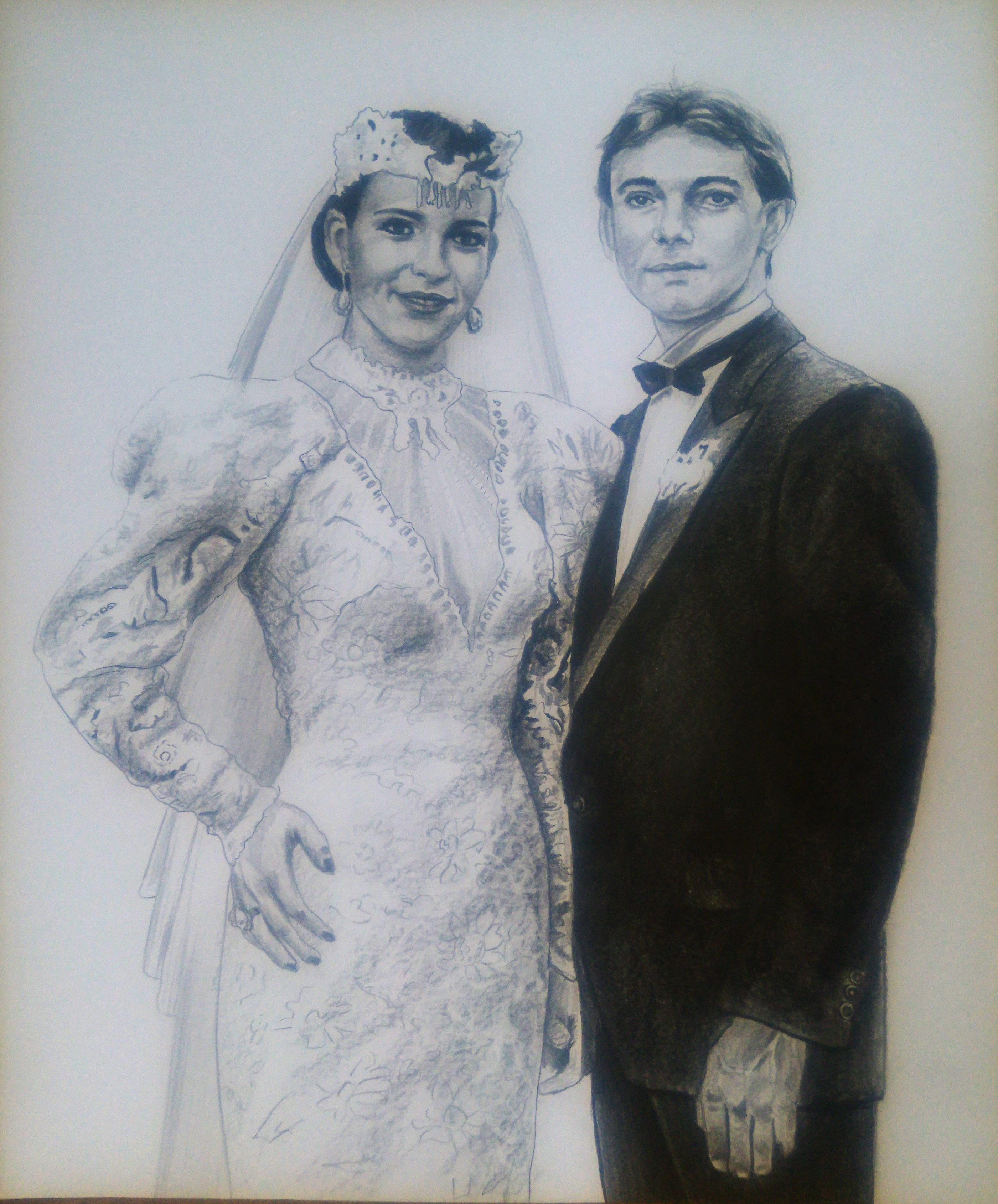 evlilik fotoğrafından karakalem