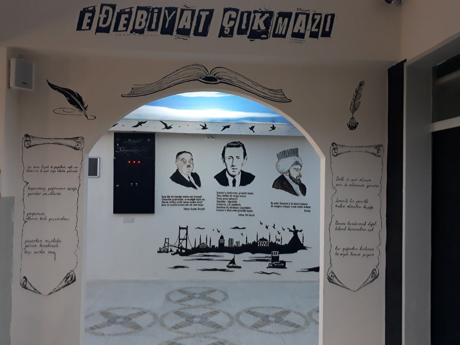 okulda duvar resmi çalışması