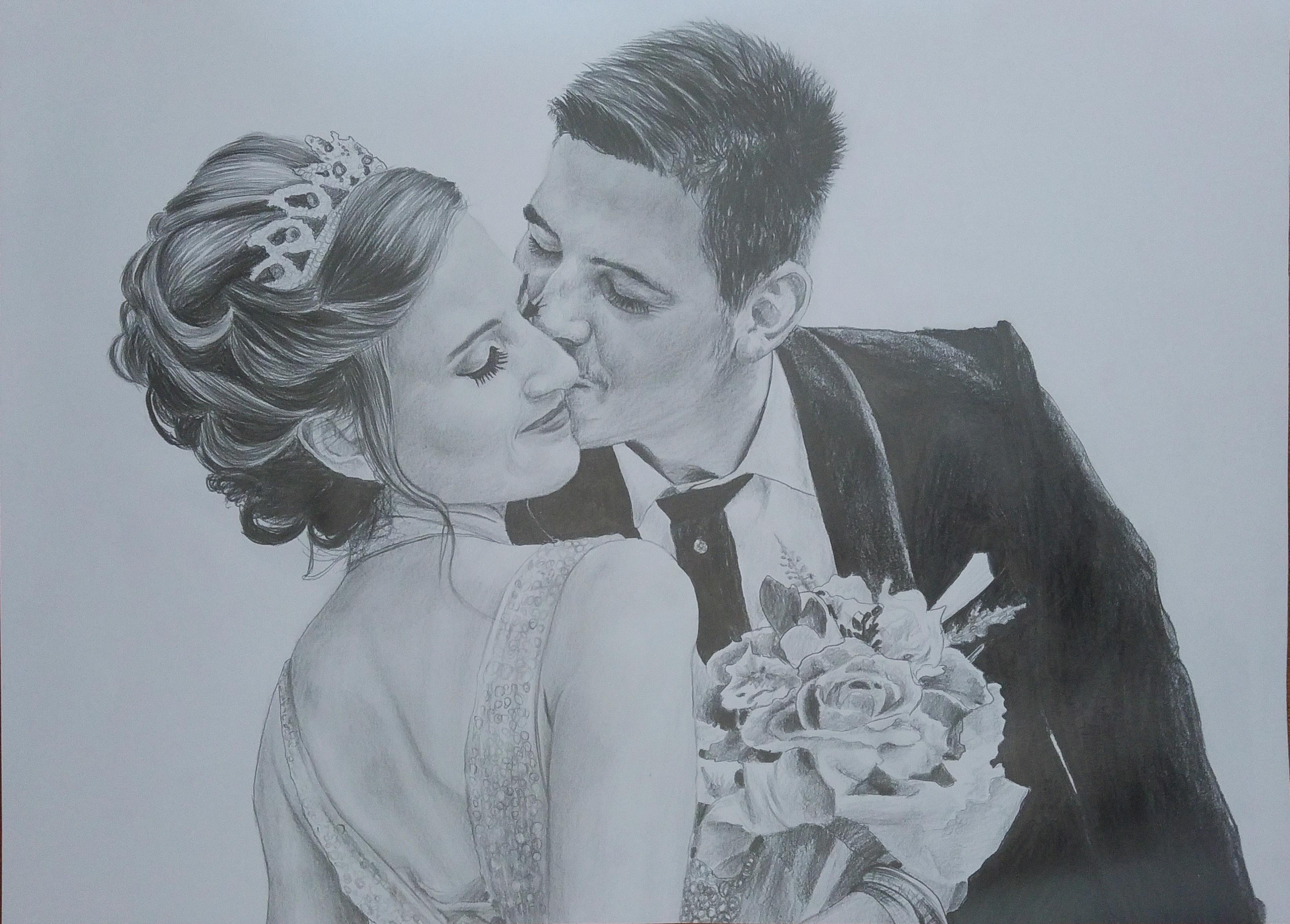 düğün karakalem portre