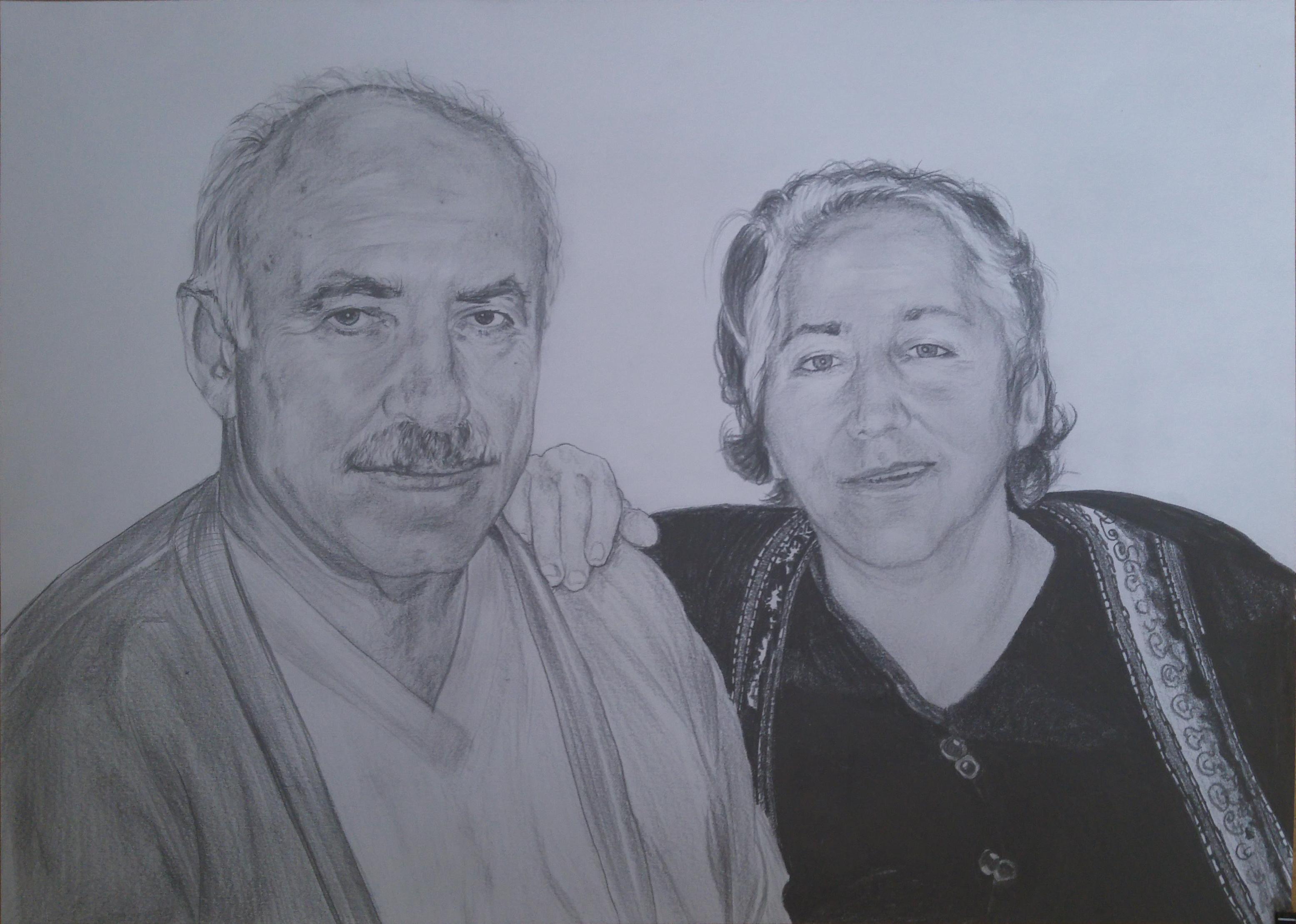 anne baba karakalem portre çizimi