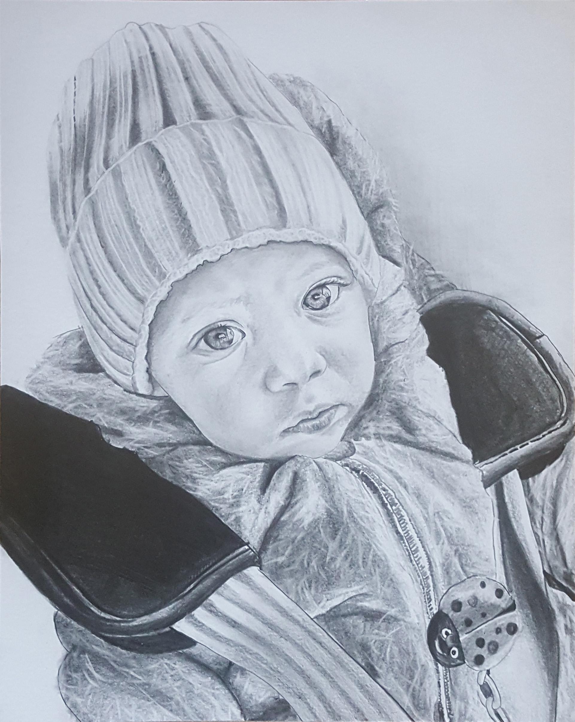 bebek karakalem çizimi