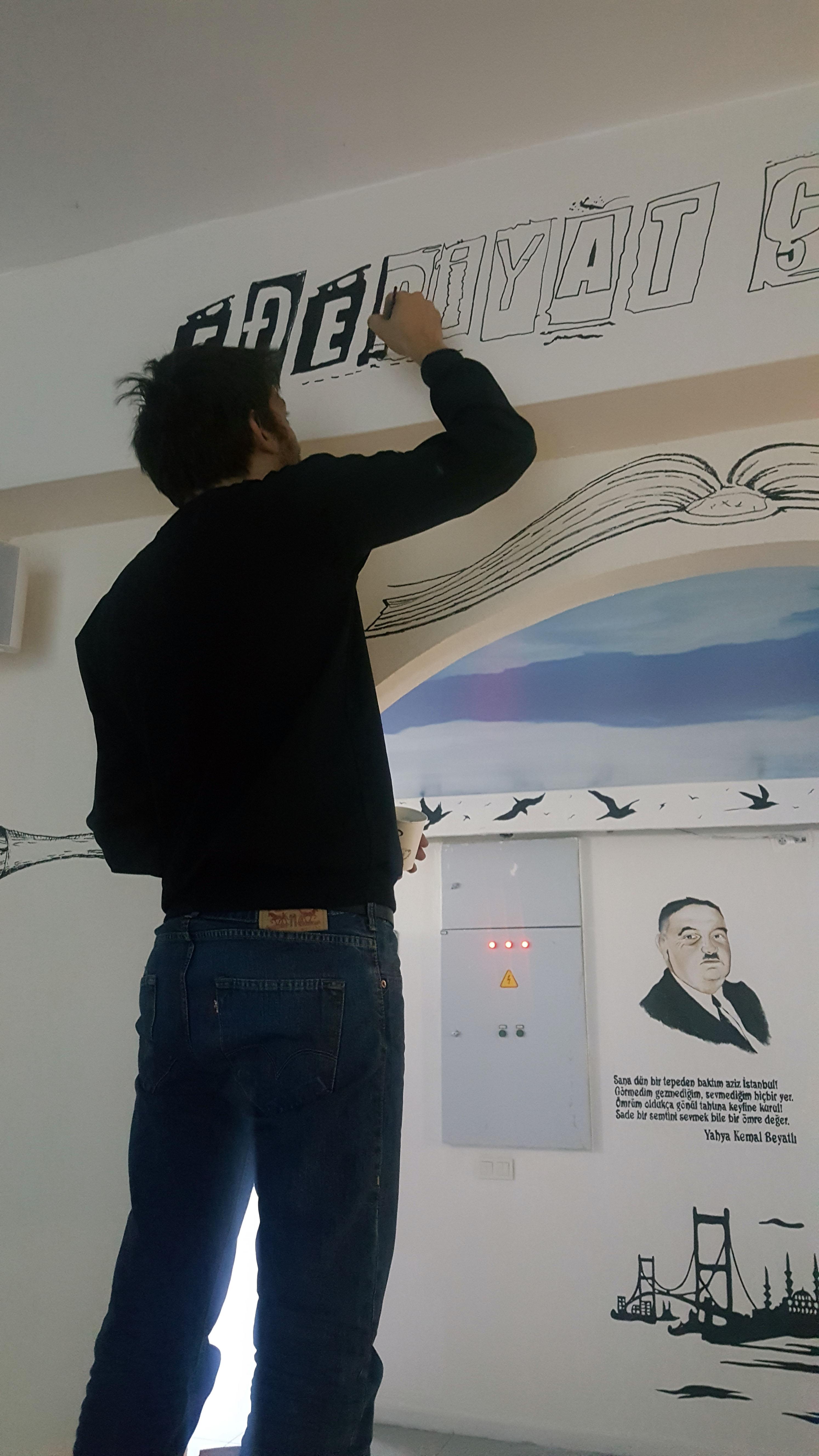 edebiyat sokağı duvar resmi çalışmas