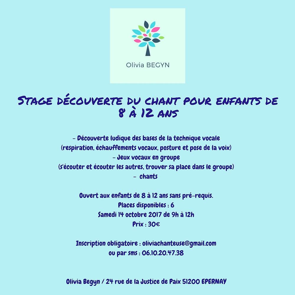 Stage découverte 8/12 ANS 14/10/2017