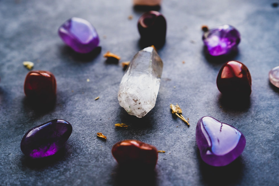 purple and white heart-shaped stones