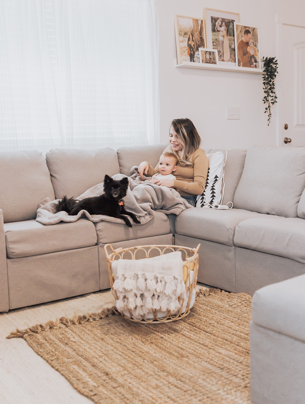 Beurer Electric Heating Blanket being used with baby and pet