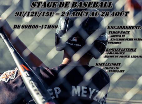 Stage Baseball Jeunes du 24 au 28 Aout 2020