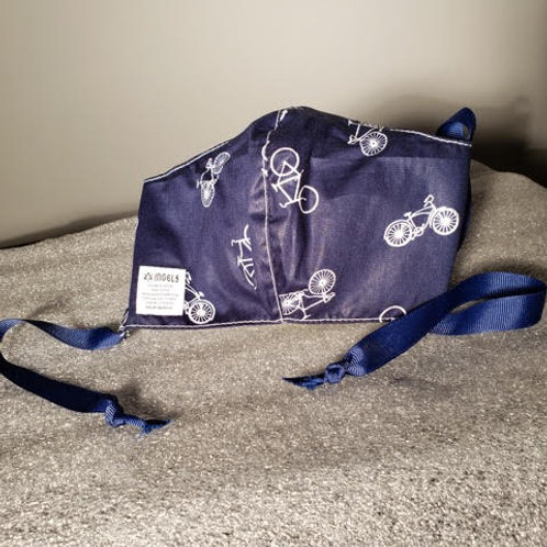 Navy Blue with Bicycles. Adult. Ribbons