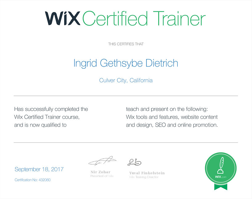 Wix Webmaster Certificate