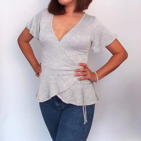 Grey and White Stripes Top