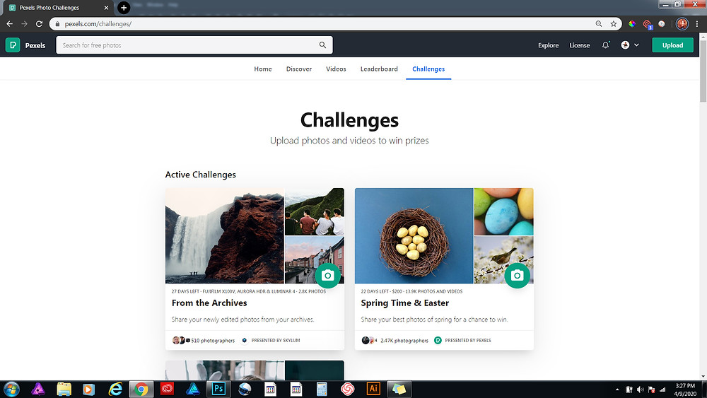 Image shows the different challenges from Pexels for the month of April, 2020.