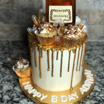 White & Gold Henny Drip Cake
